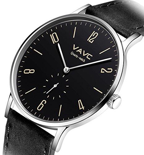 Black Dial Casual Watch (VAVC Men's Black Leather Band Casual Simple Dress Waterproof Analog Black Dial Quartz Wrist Watch)