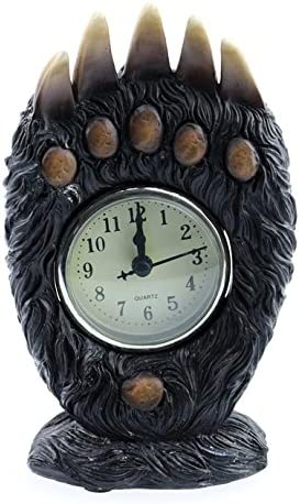 Country Axentz Bear Paw Desk Table Top Clock, 8 , Free Standing, Cabin Lodge Decor