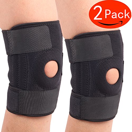 Knee Brace ,Knee Brace Support ,Sleeve protector For Arthritis,(Pack of 2), ACL, Running, Basketball, Meniscus Tear, Sports, Athletic. Open Patella Protector Wrap ,  By HNTTGG