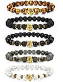 FIBO STEEL 1-5 Pcs Lava Rock Stone Bead Bracelet for Men Women Leopard Head Bracelet Set Adjustable,8MM Stone X