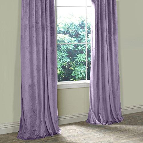 COFTY Super Soft Solid Matt Velvet Curtain Drapes Violet 50Wx120L Inch(set of 2 Panels) – Nickle Grommet – BIRKIN Collection School| Theater| Bedroom| Living Room| Hotel