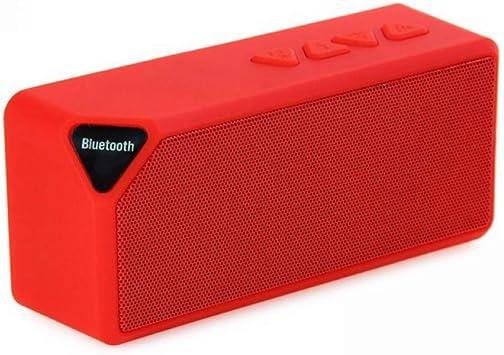 Mini Altavoz Bluetooth X3 TF USB FM Radio Inalámbrica Portátil Caja de Sonido de Música Altavoces Subwoofer con Micrófono para Teléfono PC-Rojo: Amazon.es: Electrónica
