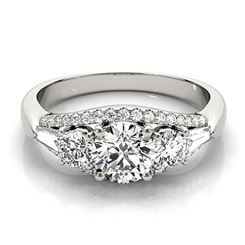 Transcendent Brilliance 14k White Gold Three Stone 1 1/8 TDW Diamond Engagement Ring