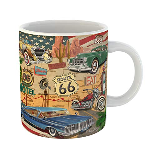 Emvency Coffee Tea Mug Gift 11 Ounces Funny Ceramic American Vintage Route 66 Diner Arizona Map Gifts For Family Friends Coworkers Boss Mug]()