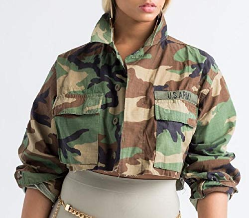 Howme Women Loose Cropped Long Military Casual Sleeve Outwear 1 SzFqz6