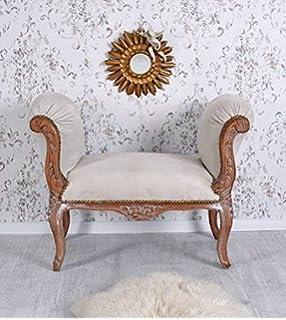 Casa Padrino Barock Schemel Hocker Weiß Lederoptikweiß Sitzbank