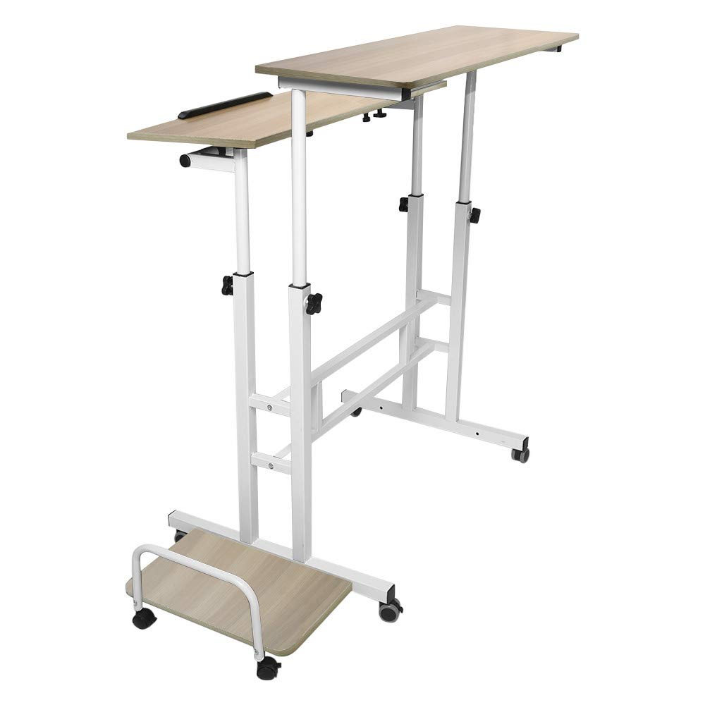 Adjustable Standing Desk - Controllable Height Computer Table with Swinging Footrest Optional for Standing and Seating 2 Modes (Yellow) by Hunzed Home & Kitchen (Image #5)