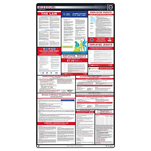 ComplianceSigns 2019 Missouri Labor Law Poster, 44.5 x 24 in. with Blue Header