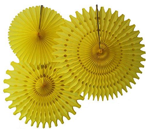 Hanging Honeycomb Tissue Fan, Yellow, Set of 3