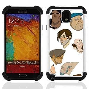 """SAMSUNG Galaxy Note 3 III / N9000 / N9005 - 3 en 1 impreso colorido de Altas Prestaciones PC Funda chaqueta Negro cubierta gel silicona suave (Artista Diseñado dibujos animados cgi Pintura"""")"""