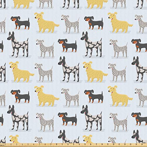 (Lunarable Kids Fabric by The Yard, Cute Dogs Dalmatian Yorkshire Terrier German Shorthaired Pointer Playroom Nursery, Microfiber Fabric for Arts and Crafts Textiles & Decor, 10 Yards,)