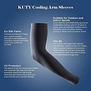 Kuty Arm Sleeves, Perfectly fit Fingers and Prevent Harm from Sport and UV. Hand Cover(Black)