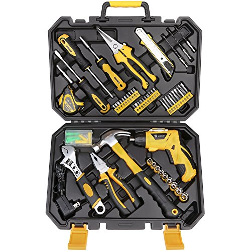 DEKO 108 Piece Socket Wrench Auto Repair Tool Combination Package Mixed Tool Set Hand Tool Kit with Plastic Toolbox Storage Case