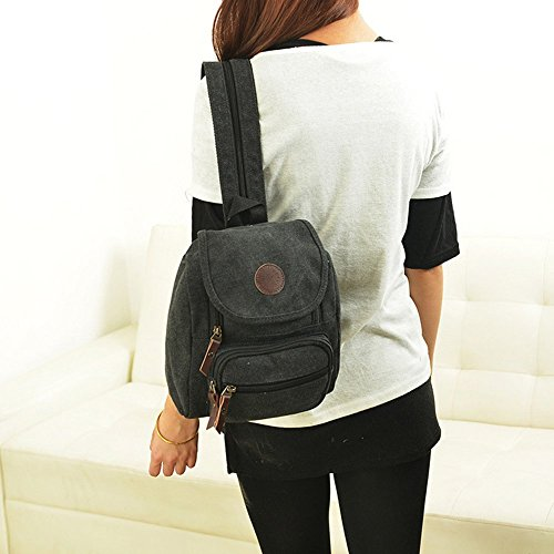 Body Shoulder Pocket Bag Cross Backpack Zipper Multi Small Hiigoo Black vxBOAHqB