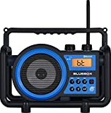 Sangean BB-100SE AM / FM / BLUETOOTH / Aux-In / Ultra Rugged Rechargeable Digital Tuning Radio (Black/Blue) Special Edition (Renewed)