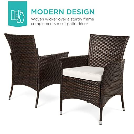 Garden and Outdoor Best Choice Products 5-Piece Indoor Outdoor Wicker Dining Set Furniture for Patio, Backyard w/Square Glass Table Top… patio dining sets