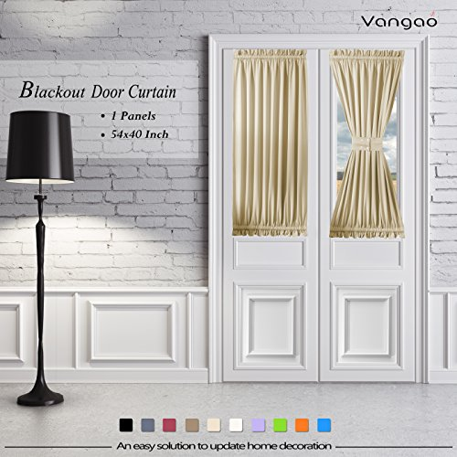 Beige Blackout French Door Curtain Panels by Vangao set of 1 Piece Darkening Thermal Insulated Sliding Door Curtains 54W By 40L Inches with Bonus Tieback for Patio Door/Glass Door (1 Piece Set)