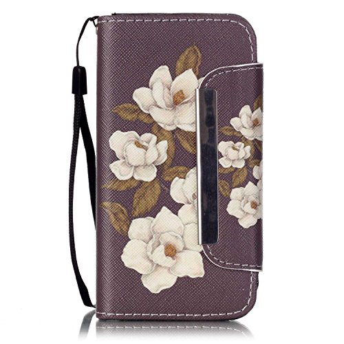 iPhone 5C Case,iPhone 5C Wallet Case FAIRYCASE(TM)Leather Wallet Metal Button Stand Flip with Card Slots Cover Case for iPhone 5C,Color Begonia Flowers