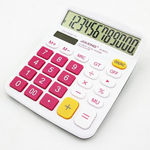 Chris-Wang Colorful Large Button Desktop Calculator for Office & Home Use, 12 Digit Solar & Battery Dual Powered LCD Display Standard Electronic Calculator(Hot Pink) by Chris-Wang