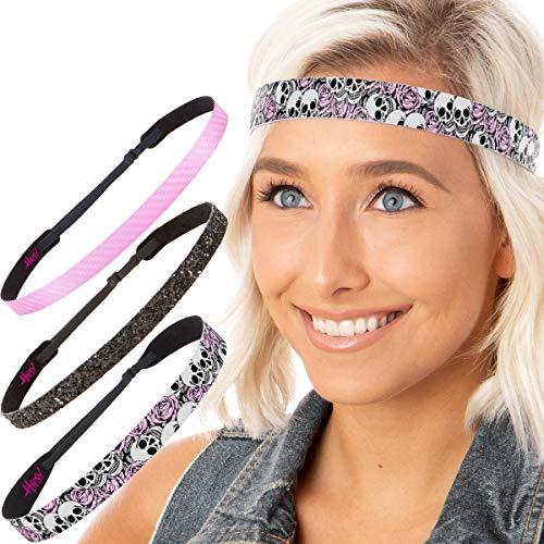 Hipsy Women's NO Slip Skull n Roses Fashion Headband Hair Bands (Light Pink Gift -