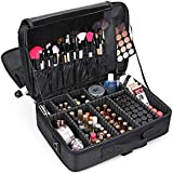 Large Capacity Makeup Case 3 Layers Cosmetic Organizer Brush bag Makeup Train Case Makeup Artist Box for Hair Curler Hair Straightener Brush Set and Cosmetics