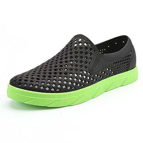 XSXA1702heise44 EnllerviiD Men Slip On Waterproof Water Shoes Summer Casual Beach Pool Garden Shoes Black 10 D(M) US HYHAlMs