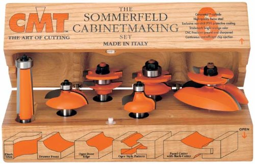 CMT 800.515.11 Six Piece Kitchen Cove Cabinetmaking Router Bit Set With 1/2