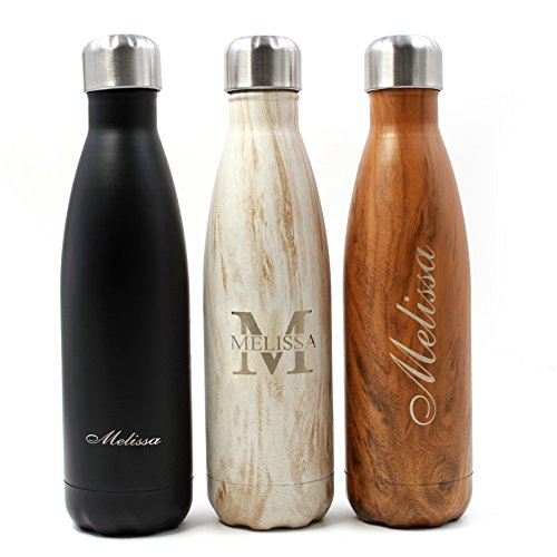 PP TOY Personalized Laser Engraved Travel Mug Insulated Water Bottle Flask-Stainless Steel Drinking Ultimate Vacuum Bottles for Sport Hiking Running Travelling & Everyday 500ml -1PCS (balck)