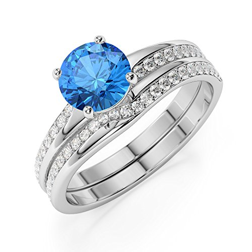 G-H/VS 1 CT Coupe ronde sertie de diamants Topaze bleue et diamants blancs et bague de fiançailles en platine 950 Agdr-2015