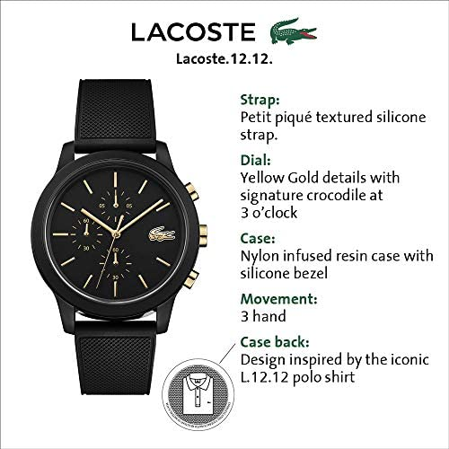 Lacoste Men's TR90 Quartz Watch with Rubber Strap, Black, 21 (Model: 2011012) 2