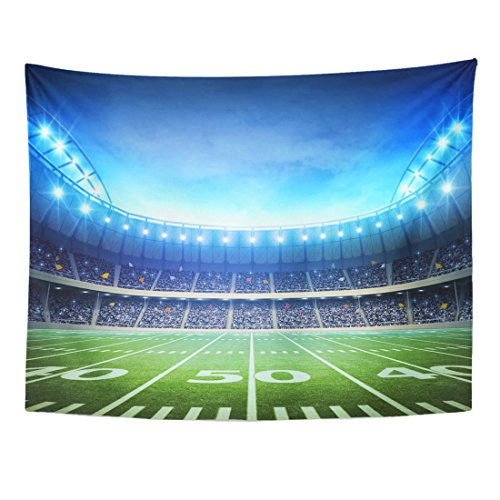 Emvency Tapestry Green Field Light of American Stadium Soccer Rugby Grass Home Decor Wall Hanging for Living Room Bedroom Dorm 60x80 Inches ()