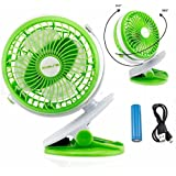 Portable Fan Rechargeable Battery Mini Oscillating Clip On black Desk Stroller (GREEN)