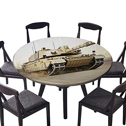 "Round Fitted Tablecloth Tank Moving Speedy with Motion Blur Over Sand Dangerous Artillery Weapon Beige for All Occasions 31.5""-35.5"" Round (Elastic Edge)"