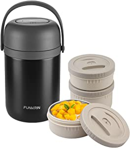 Funkrin Insulated Food Jar, 70oz Hot Food Container, 3-Tier Stackable Thermal Lunch Box For Men Women, Vacuum Stainless Steel Leakproof Hot Cold Soup Thermos for School Office Picnic Outdoors
