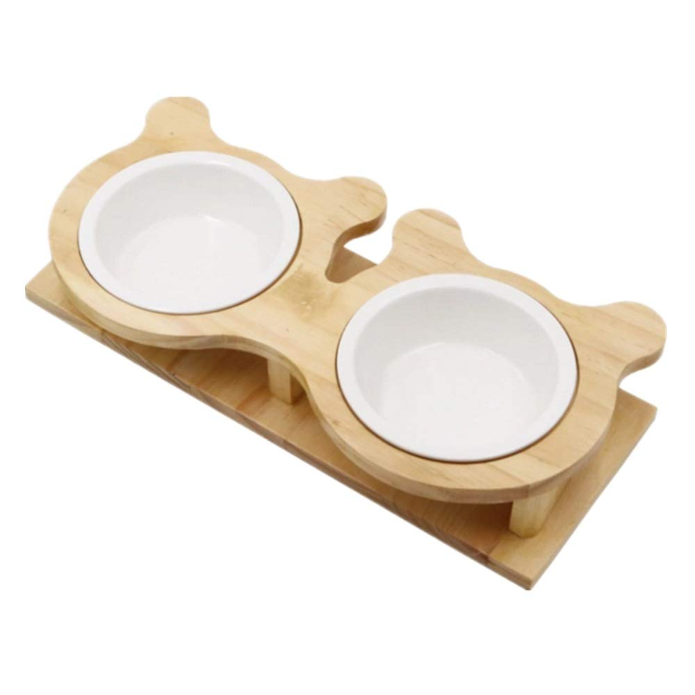 Cat Bowl Double Bowl Rice Bowl Ceramic Bowl cat Pot cat cat Food Bowl Water Bowl Water Bowl Dog Bowl Wooden Frame