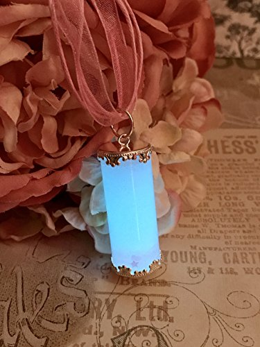 Pastel Goth Pink Hearts and Stars with Blue Glow in The Dark Vial Charm Necklace