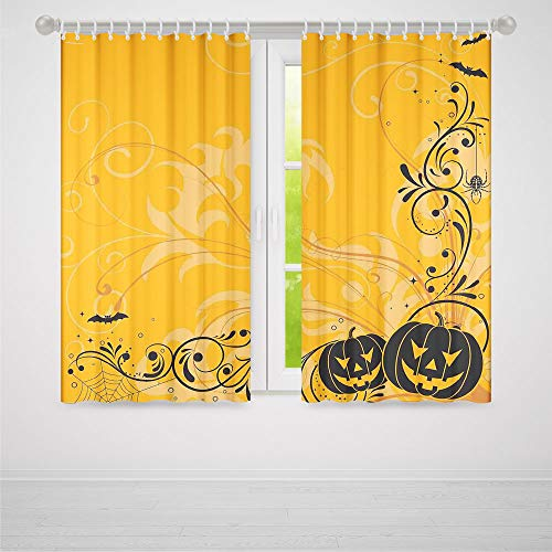 TecBillion Blackout Curtains,Halloween Decorations,Living Room Bedroom Window Drapes,Carved Pumpkins with Floral Patterns Bats and Webs Horror Artwork,103Wx72L Inches]()