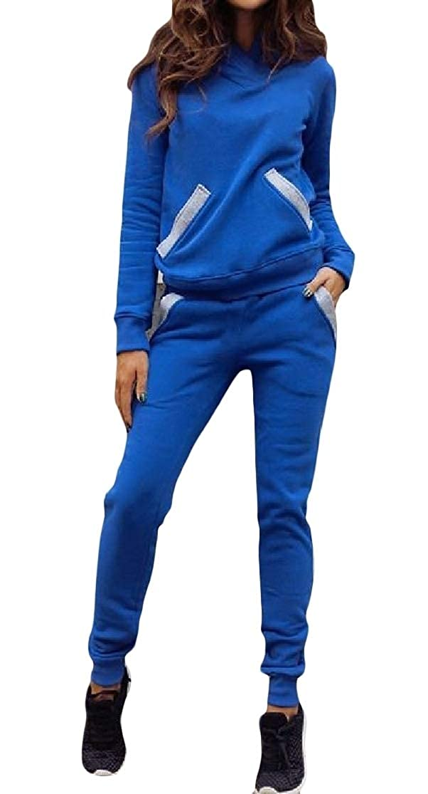 ColourfulWomen Pockets Hoodie 2 Piece Stylish Solid Fitness Training Set