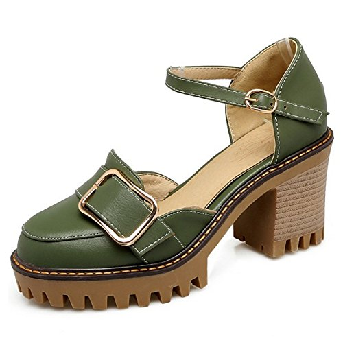 COOLCEPT Women Fashion Ankle Strap Sandals Closed Toe Block Heel Platform Shoes Green llvJf2Vk