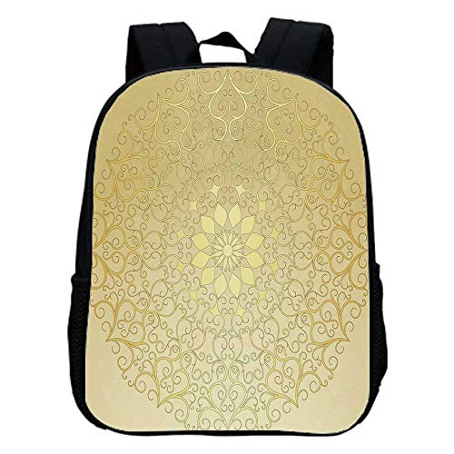 Gold Mandala Fashion Kindergarten Shoulder Bag,Round Antique Motif Curvy Stylized Ornate Heart Shape Arabesque Influences Decorative For Hiking,One_Size