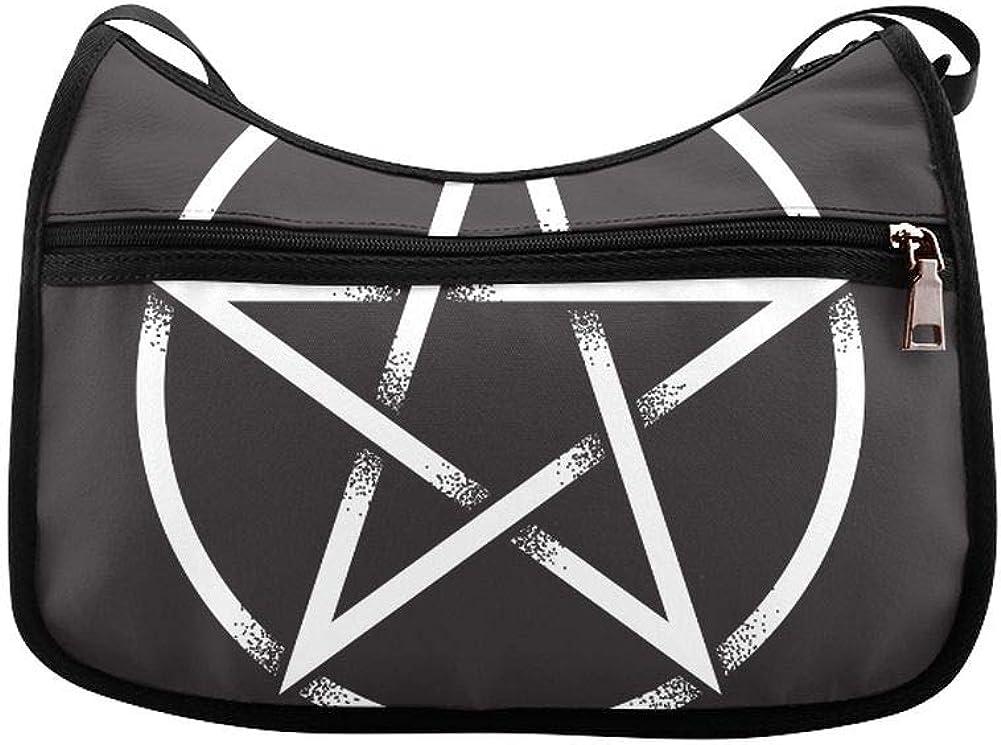 Gothic Badge With Skull And Pentagram Messenger Bag Crossbody Bag Large Durable Shoulder School Or Business Bag Oxford Fabric For Mens Womens