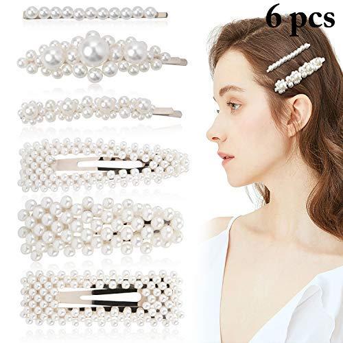 Pearl Hair Pins, Fascigirl 6PCS Pearl Hair Accessories Barrettes Hair Clips for Women