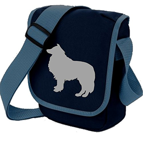 Rough On Silhouette Dog Choice Blue Collie Lassie Sheepdog Colours Shoulder Reporter Gift Bag Grey Of frUOqf