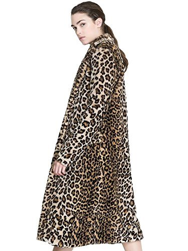 Aukmla Women's Faux Fur Coat Leopard Printed Long Lapel Jacket with Pockets (Medium)