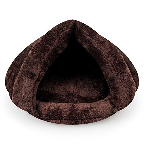 Littleice Comfortable Soft Arctic Velvet Triangle Cat Litter Pet Kitten Cat Bed Cushion Mat Super Soft Warm Kennel Dog Puppy House (Coffee) ()