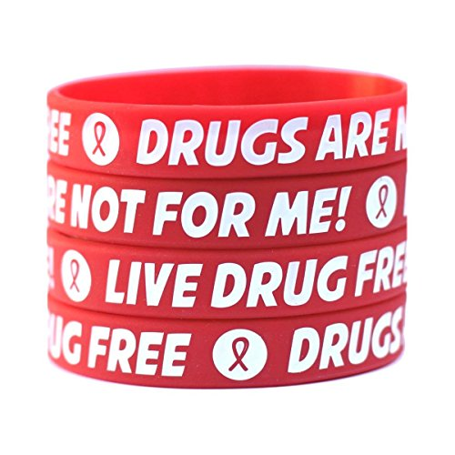 100 Adult Red Ribbon Wristbands - Drugs are Not for Me/Live Drug Free