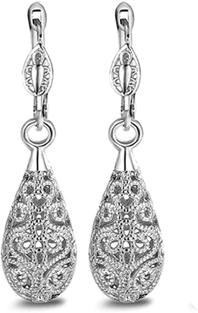 Chaimi Gold Silver Rose Gold Water-Drop Shaped Hollow Flower Pattern Dangle Earrings Jewelry Gift