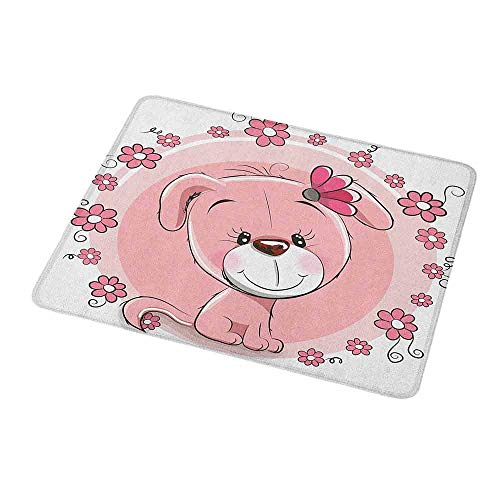Gaming Mouse Pad Custom Dog,Cute Little Puppy with Daisy Flowers Cheerful Adorable Domestic Pet Girls,Pale Pink Coral White,Custom Non-Slip Mouse Mat 9.8