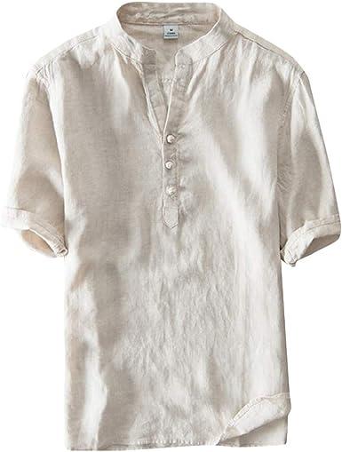 Camisetas De Lino Hombre Casual Camisas De Manga Corta ...