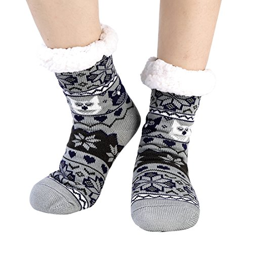 de A pince épaisses pantoufles femmes Fuzzy chaussettes non Noël Slip thermique Molleton bas 1gqYz0
